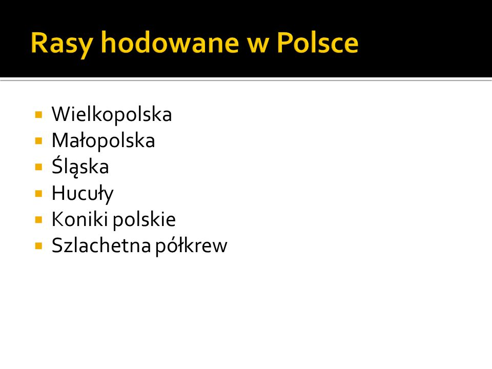 Rasy hodowane w Polsce Wielkopolska Małopolska Śląska Hucuły