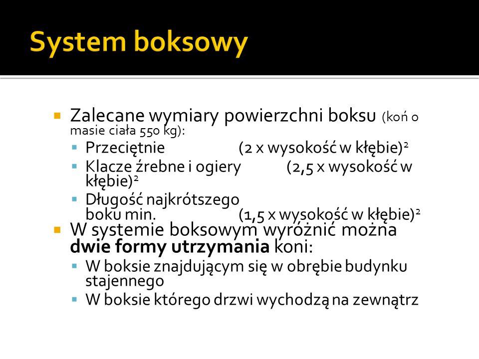 System boksowy Zalecane wymiary powierzchni boksu (koń o masie ciała 550 kg): Przeciętnie (2 x wysokość w kłębie)2.