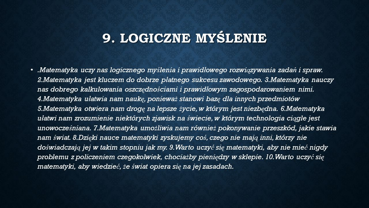9. LOGICZNE MYŚLENIE