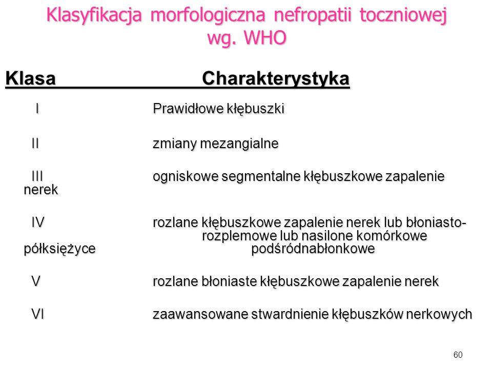 Klasyfikacja morfologiczna nefropatii toczniowej wg. WHO
