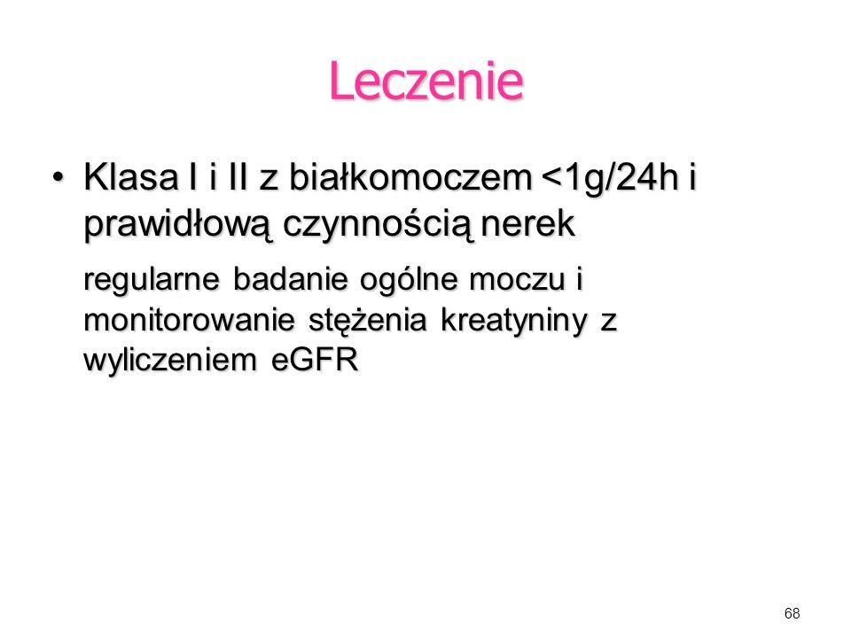 Leczenie Klasa I i II z białkomoczem <1g/24h i prawidłową czynnością nerek.