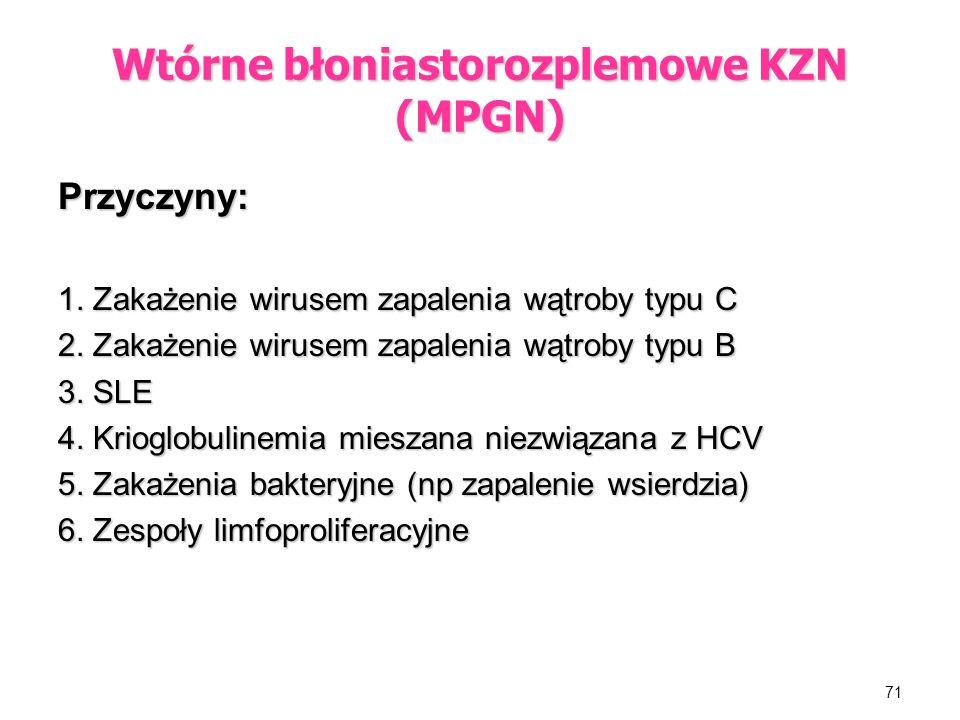 Wtórne błoniastorozplemowe KZN (MPGN)