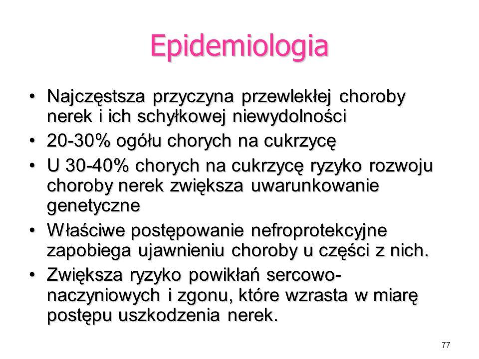 Epidemiologia Najczęstsza przyczyna przewlekłej choroby nerek i ich schyłkowej niewydolności. 20-30% ogółu chorych na cukrzycę.