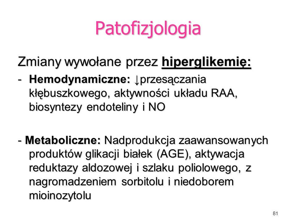 Patofizjologia Zmiany wywołane przez hiperglikemię: