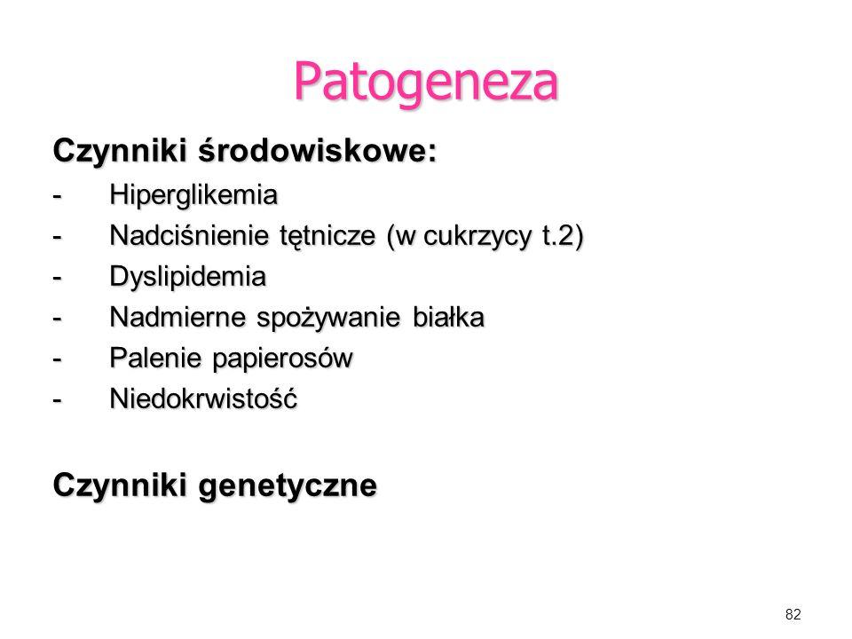 Patogeneza Czynniki środowiskowe: Czynniki genetyczne Hiperglikemia