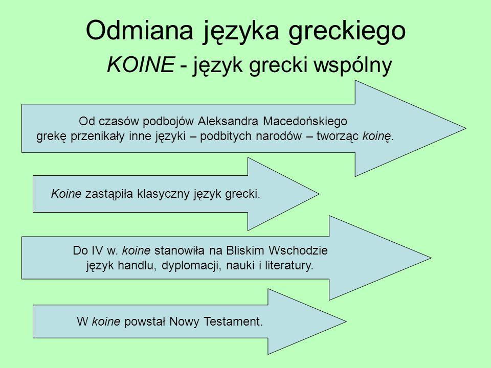 Odmiana języka greckiego KOINE - język grecki wspólny