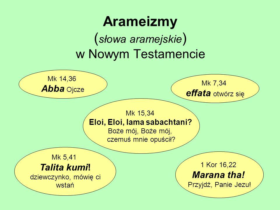 Arameizmy (słowa aramejskie) w Nowym Testamencie