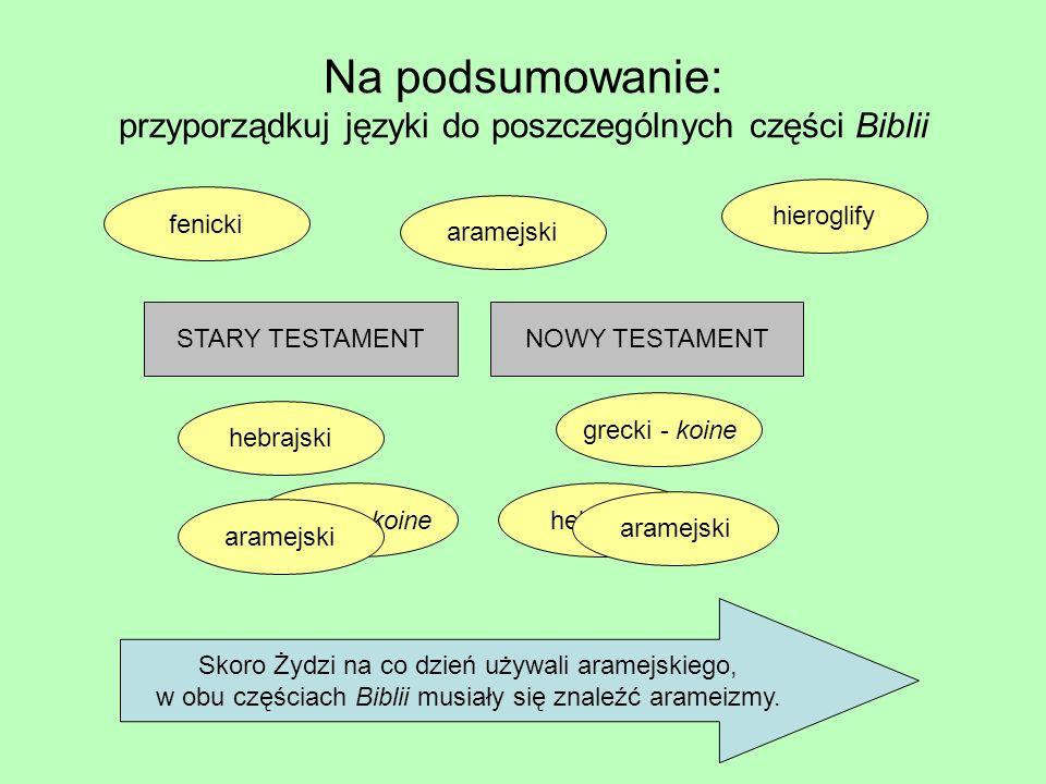 Na podsumowanie: przyporządkuj języki do poszczególnych części Biblii