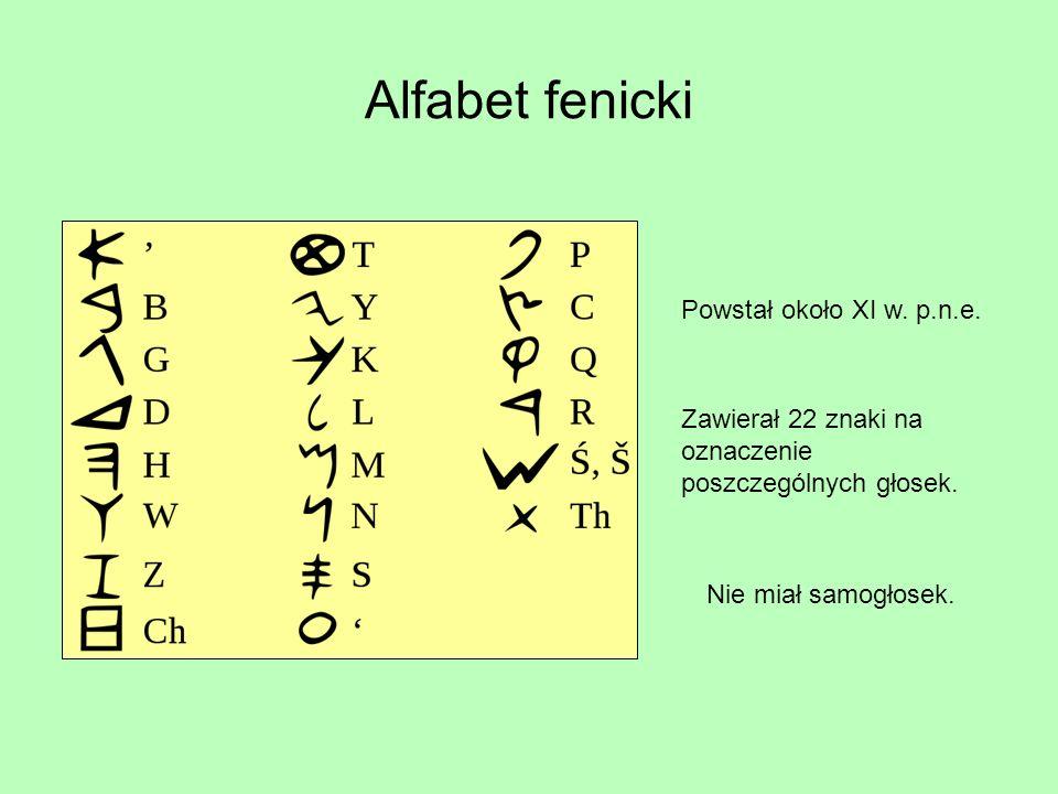 Alfabet fenicki Powstał około XI w. p.n.e.