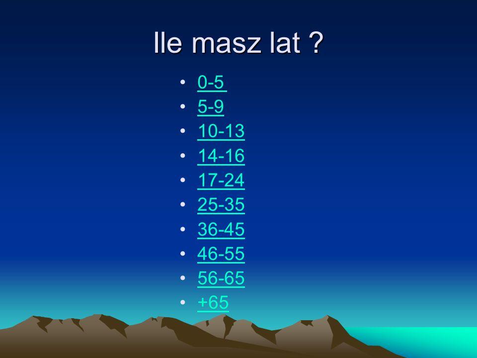 Ile masz lat 0-5 5-9 10-13 14-16 17-24 25-35 36-45 46-55 56-65 +65