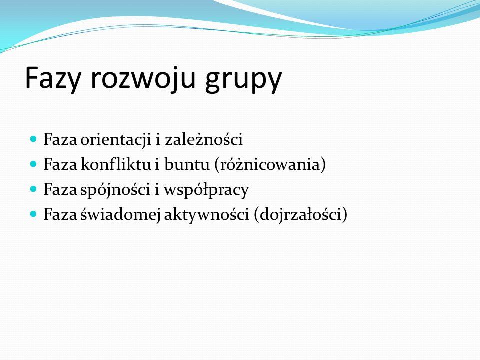Fazy rozwoju grupy Faza orientacji i zależności