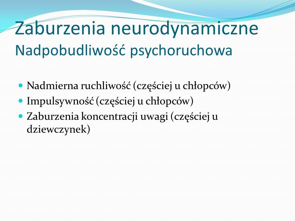 Zaburzenia neurodynamiczne Nadpobudliwość psychoruchowa