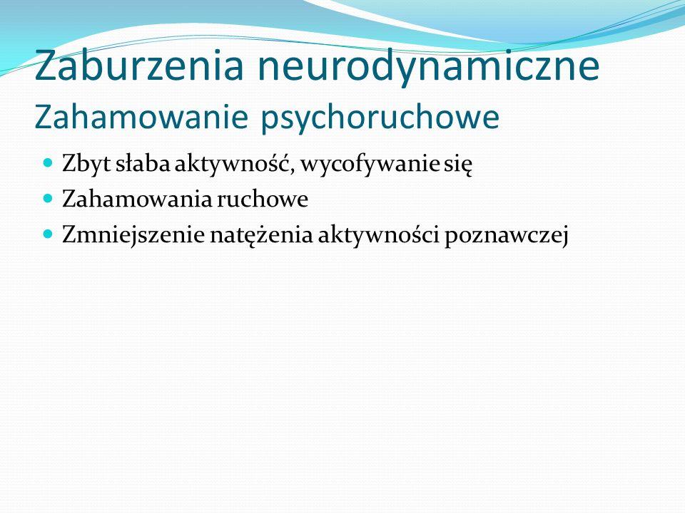 Zaburzenia neurodynamiczne Zahamowanie psychoruchowe