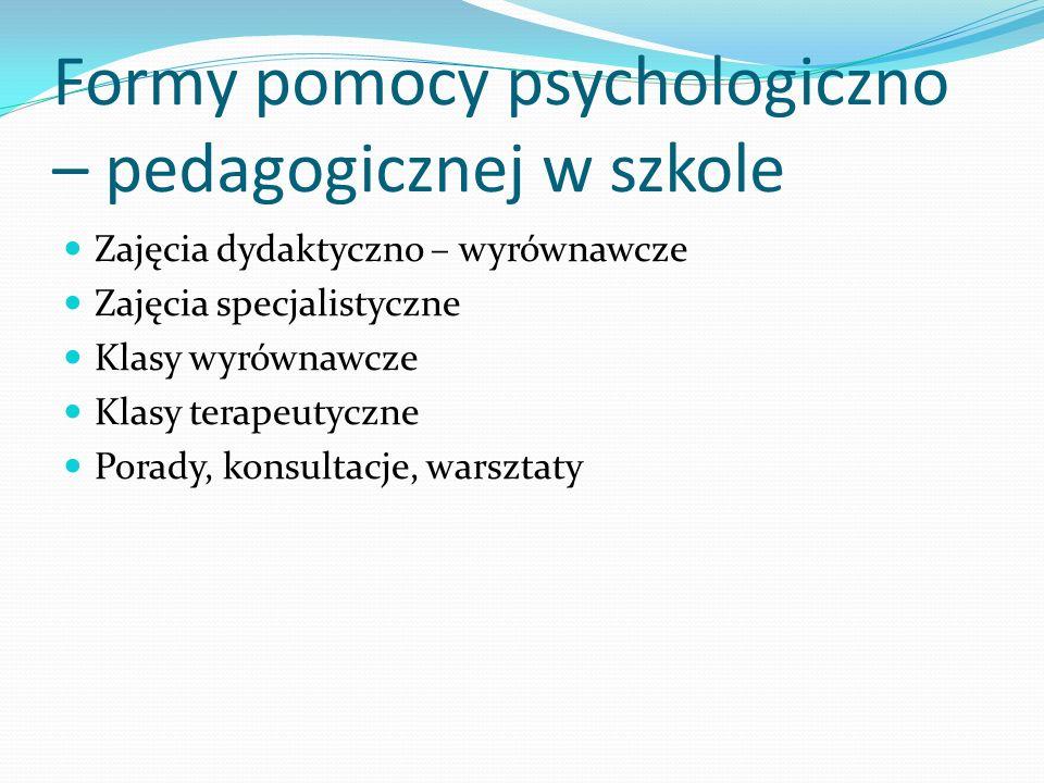 Formy pomocy psychologiczno – pedagogicznej w szkole