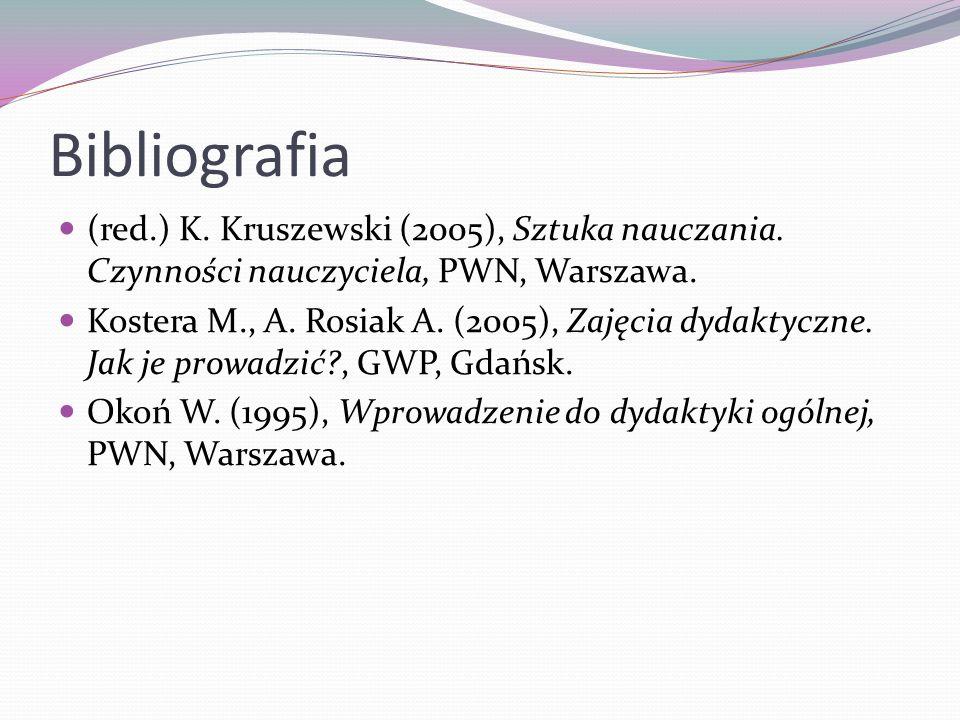 Bibliografia(red.) K. Kruszewski (2005), Sztuka nauczania. Czynności nauczyciela, PWN, Warszawa.