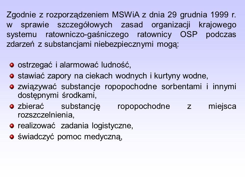 Zgodnie z rozporządzeniem MSWiA z dnia 29 grudnia 1999 r