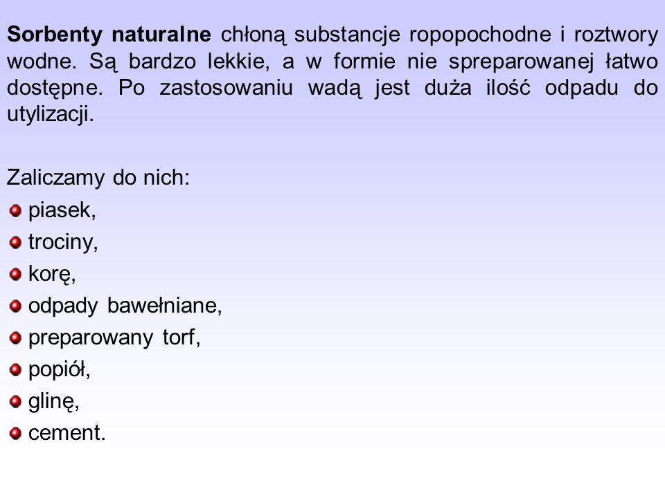 Sorbenty naturalne chłoną substancje ropopochodne i roztwory wodne