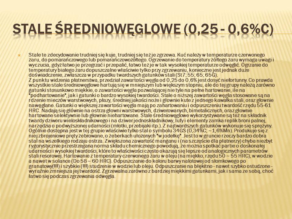 STALE ŚREDNIOWĘGLOWE (0,25 - 0,6%C)