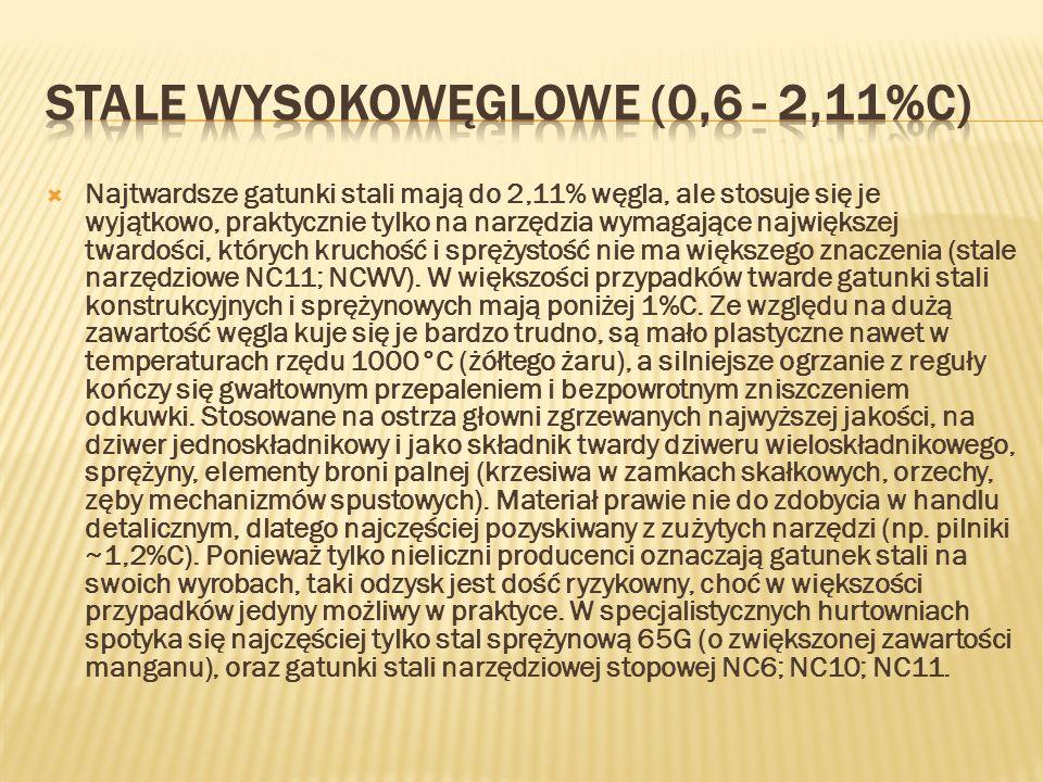 STALE WYSOKOWĘGLOWE (0,6 - 2,11%C)