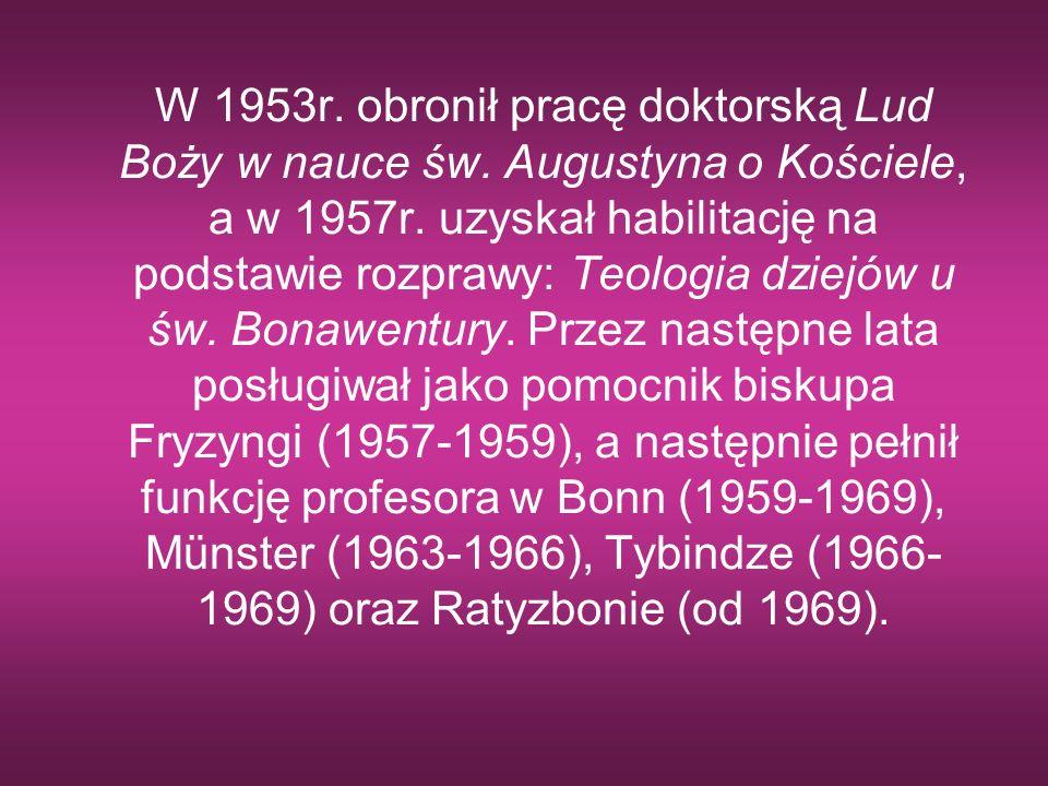 W 1953r. obronił pracę doktorską Lud Boży w nauce św
