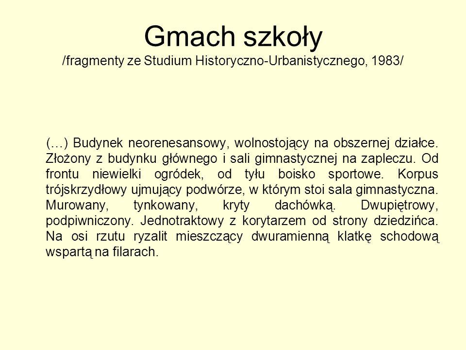 Gmach szkoły /fragmenty ze Studium Historyczno-Urbanistycznego, 1983/