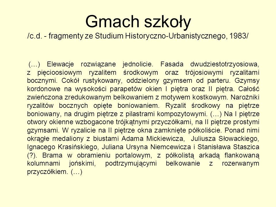 Gmach szkoły /c.d. - fragmenty ze Studium Historyczno-Urbanistycznego, 1983/