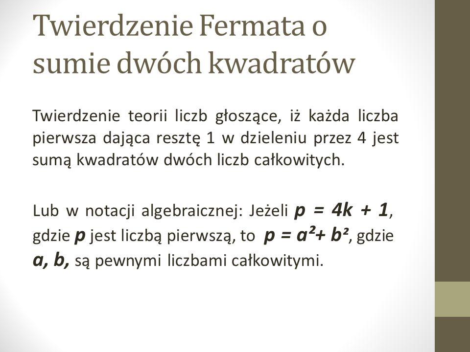 Twierdzenie Fermata o sumie dwóch kwadratów