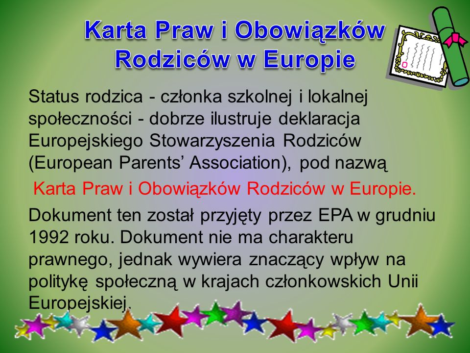 Karta Praw i Obowiązków Rodziców w Europie