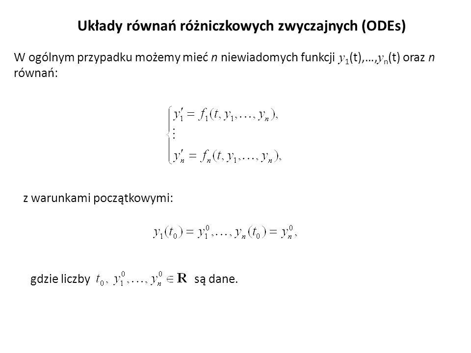 Układy równań różniczkowych zwyczajnych (ODEs)