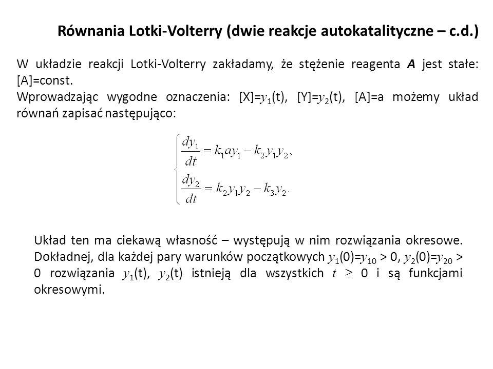 Równania Lotki-Volterry (dwie reakcje autokatalityczne – c.d.)