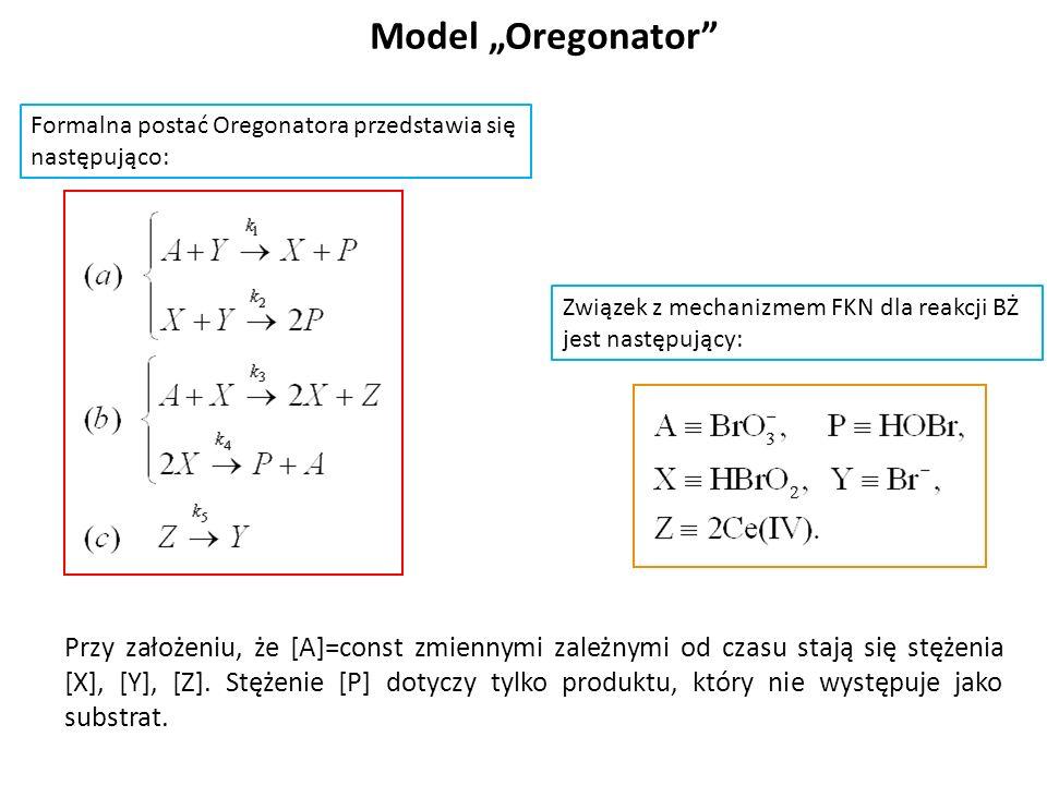 """Model """"Oregonator Formalna postać Oregonatora przedstawia się. następująco: Związek z mechanizmem FKN dla reakcji BŻ jest następujący:"""