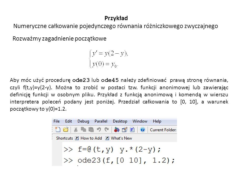 Numeryczne całkowanie pojedynczego równania różniczkowego zwyczajnego