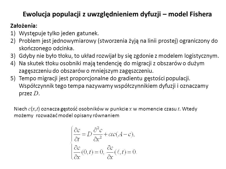 Ewolucja populacji z uwzględnieniem dyfuzji – model Fishera
