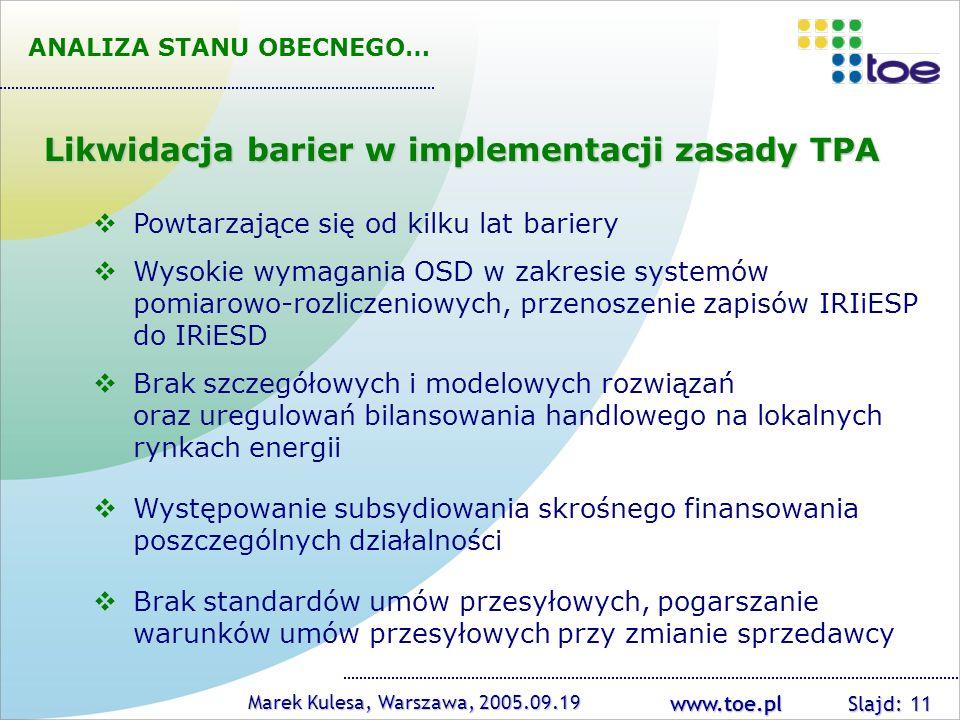 Likwidacja barier w implementacji zasady TPA