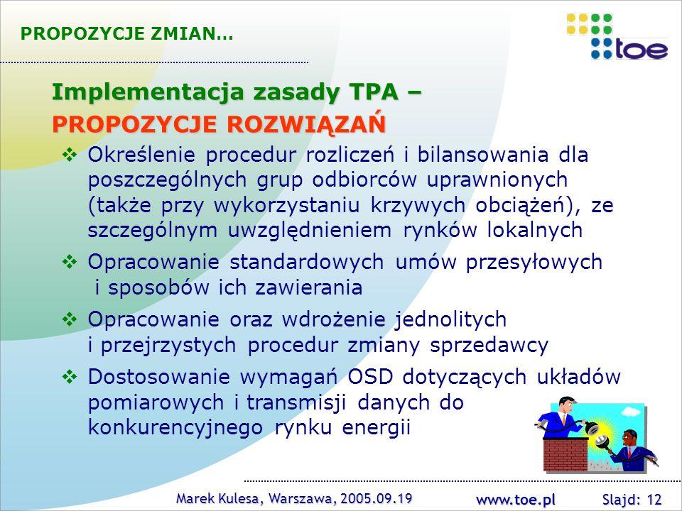 Implementacja zasady TPA – PROPOZYCJE ROZWIĄZAŃ