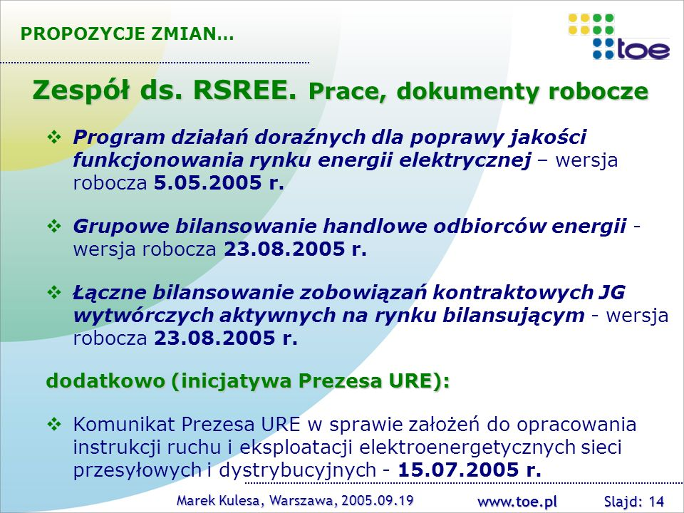 Zespół ds. RSREE. Prace, dokumenty robocze