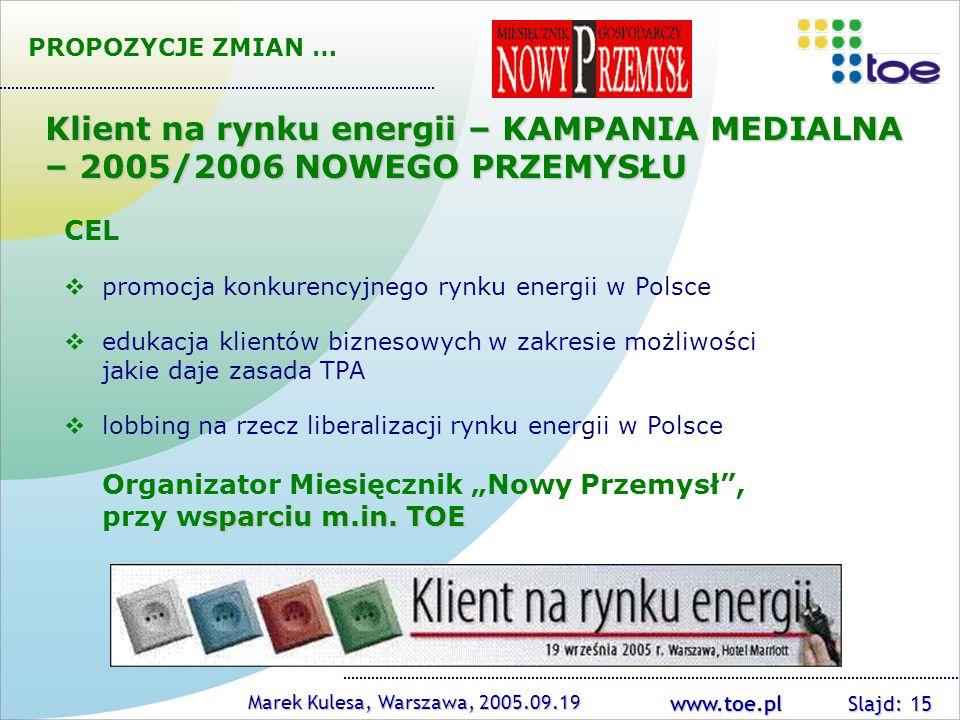 PROPOZYCJE ZMIAN … Klient na rynku energii – KAMPANIA MEDIALNA – 2005/2006 NOWEGO PRZEMYSŁU. CEL. promocja konkurencyjnego rynku energii w Polsce.