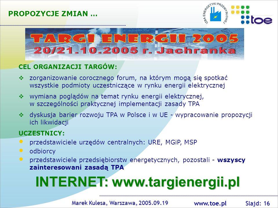 INTERNET: www.targienergii.pl