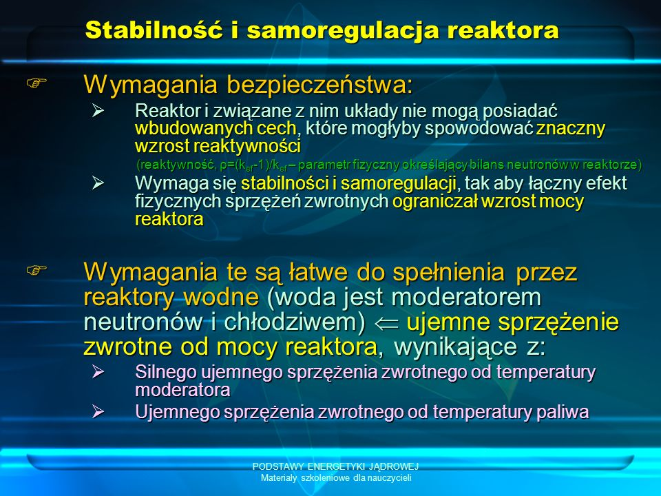 Stabilność i samoregulacja reaktora
