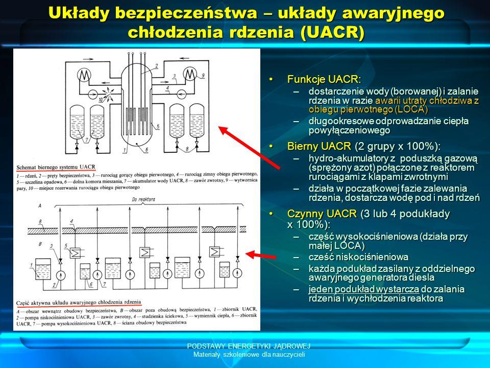 Układy bezpieczeństwa – układy awaryjnego chłodzenia rdzenia (UACR)