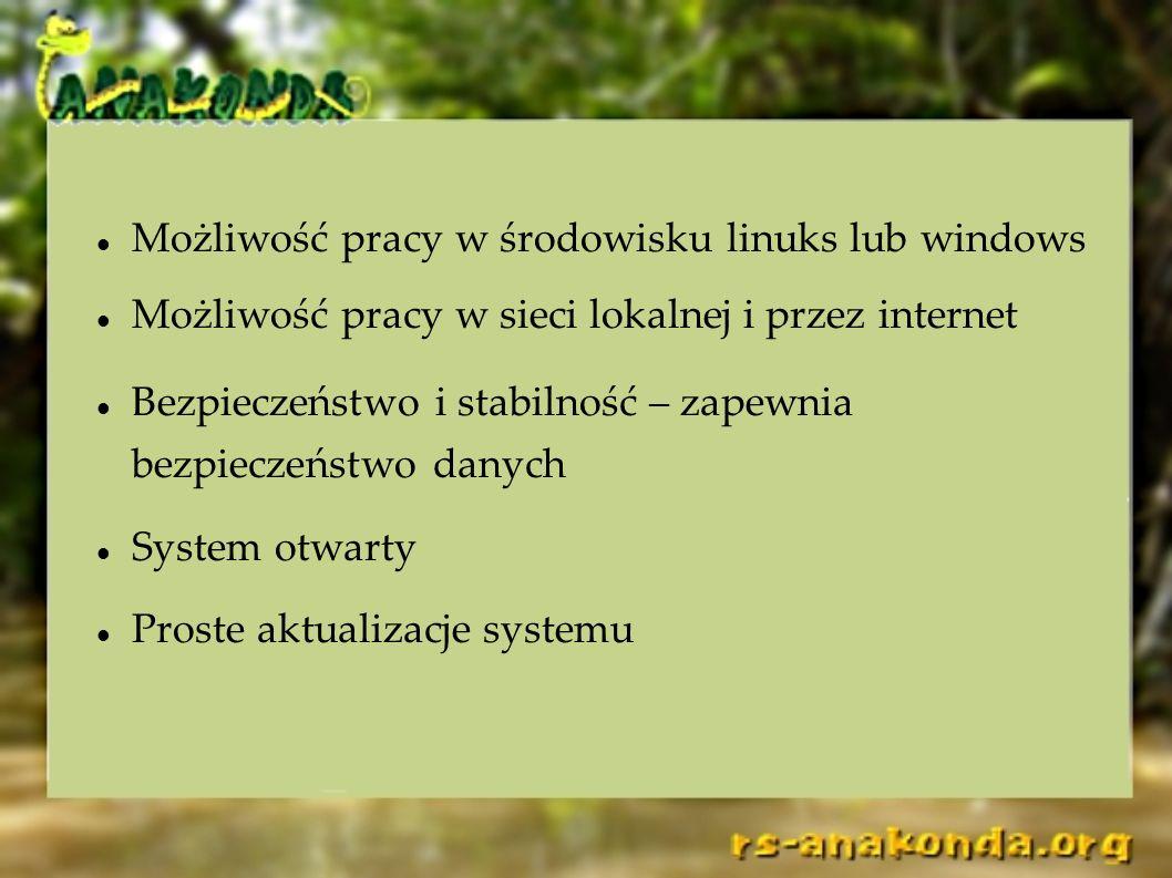 Możliwość pracy w środowisku linuks lub windows