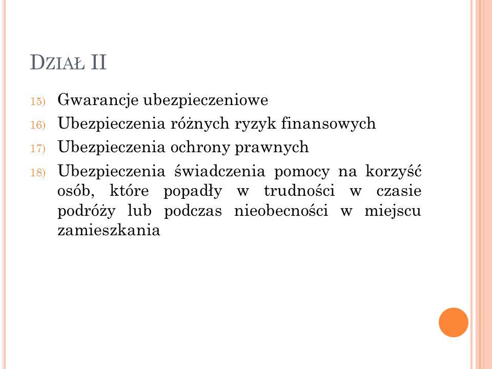 Dział II Gwarancje ubezpieczeniowe