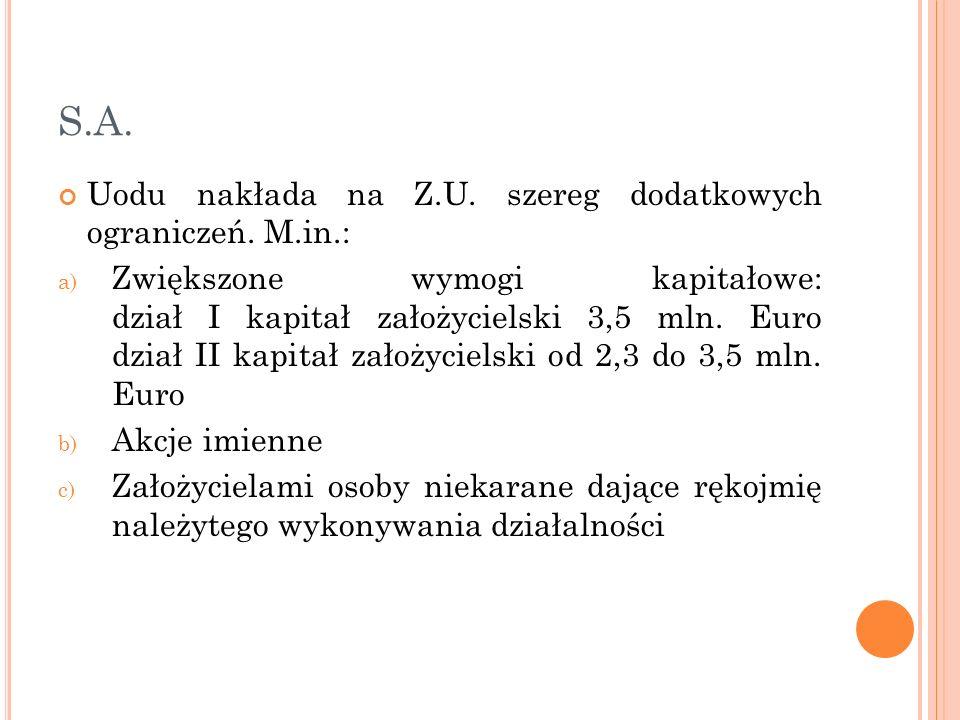 S.A. Uodu nakłada na Z.U. szereg dodatkowych ograniczeń. M.in.: