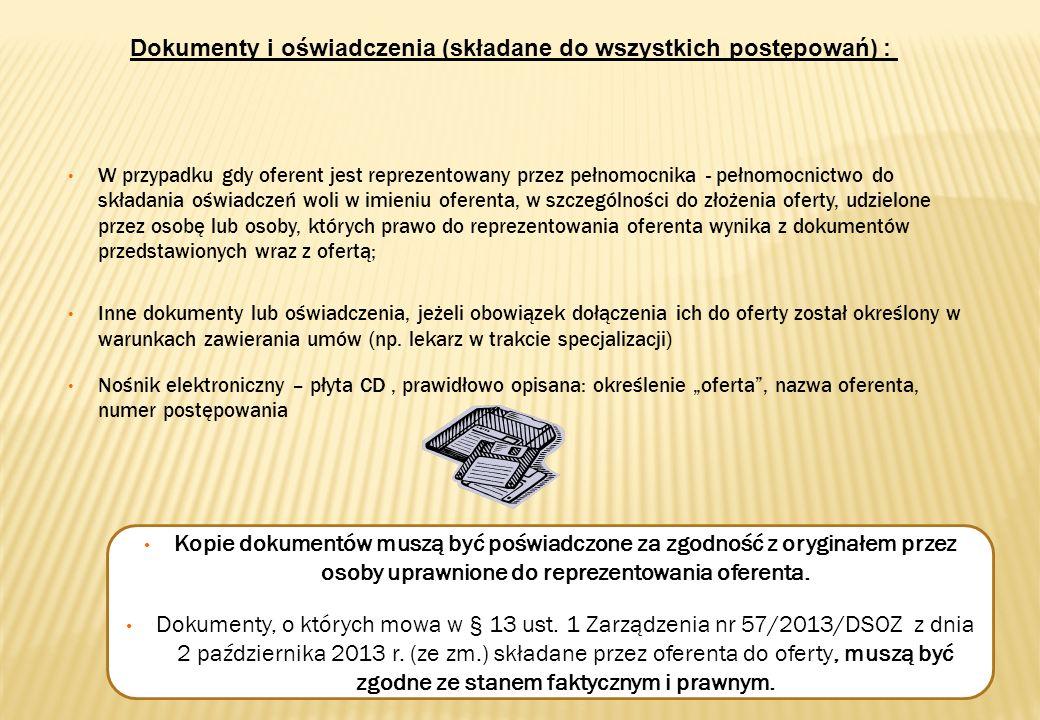 Dokumenty i oświadczenia (składane do wszystkich postępowań) :