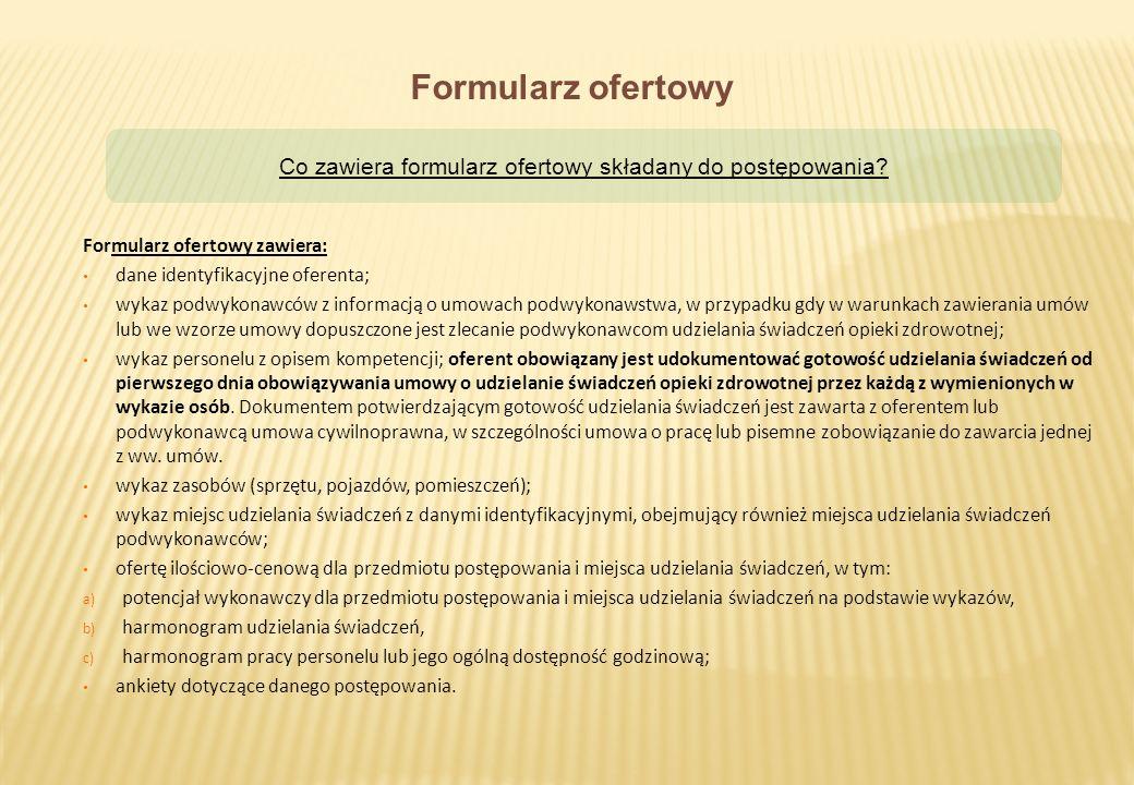 Co zawiera formularz ofertowy składany do postępowania