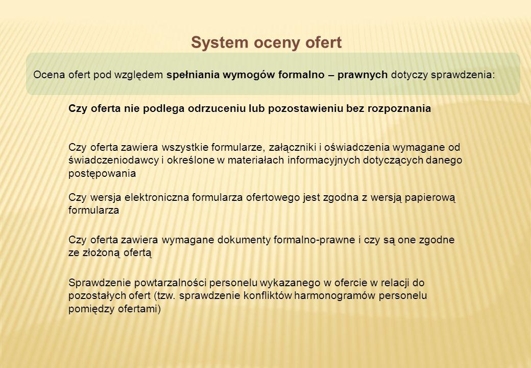 System oceny ofert Ocena ofert pod względem spełniania wymogów formalno – prawnych dotyczy sprawdzenia: