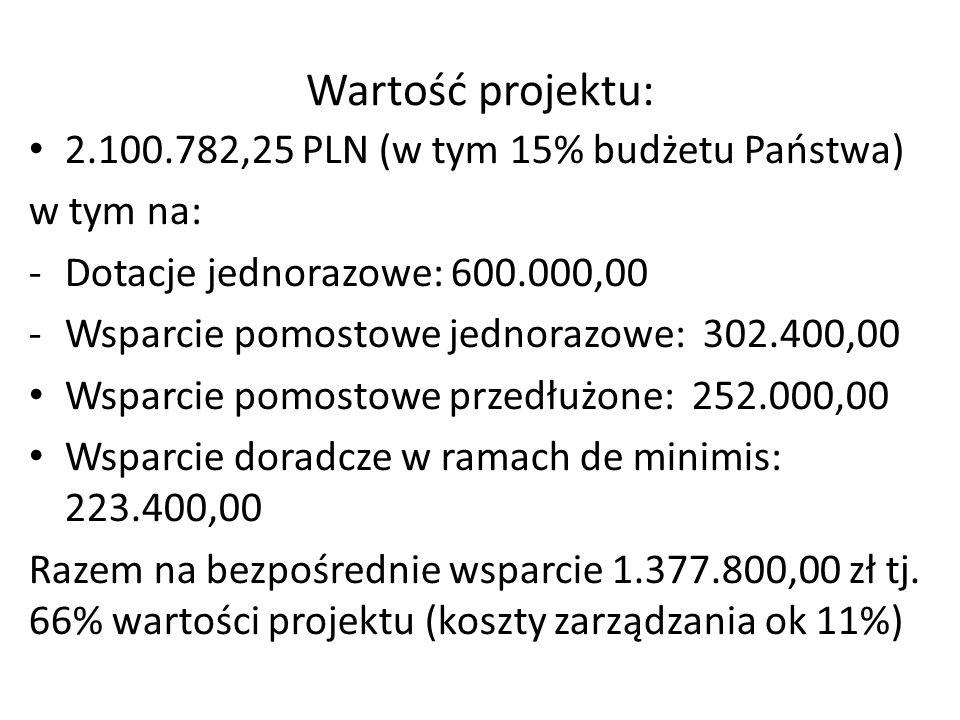 Wartość projektu: 2.100.782,25 PLN (w tym 15% budżetu Państwa)