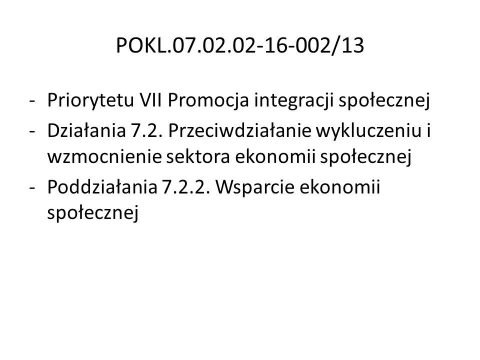POKL.07.02.02-16-002/13 Priorytetu VII Promocja integracji społecznej