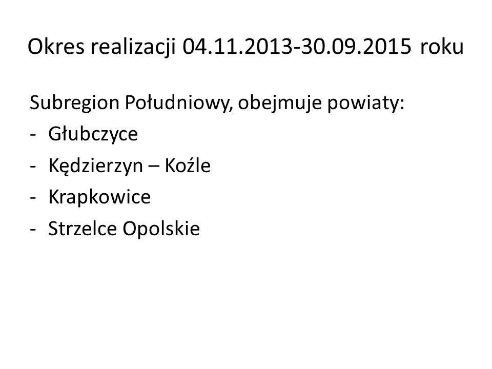 Okres realizacji 04.11.2013-30.09.2015 roku