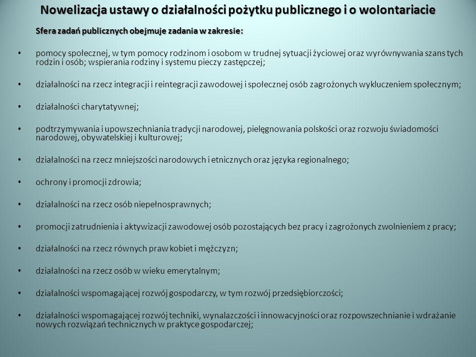 Nowelizacja ustawy o działalności pożytku publicznego i o wolontariacie